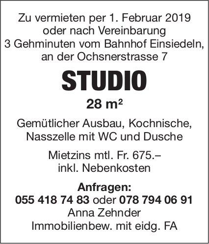 Studio 28 m², 3 Gehmin. vom Bhf. Einsiedeln, zu vermieten