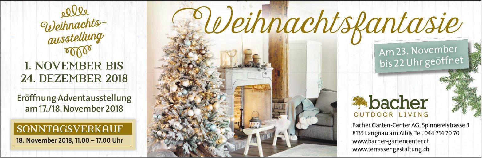 Weihnachtsausstellung Weihnachtsfantasie, 1. Nov. - 24. Dez., Bacher Garten-Center AG