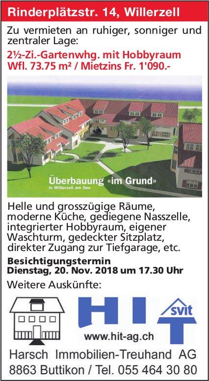 2½-Zi.-Gartenwhg. mit Hobbyraum, Willerzell, zu vermieten - Besichtigungstermin, 20. Nov.