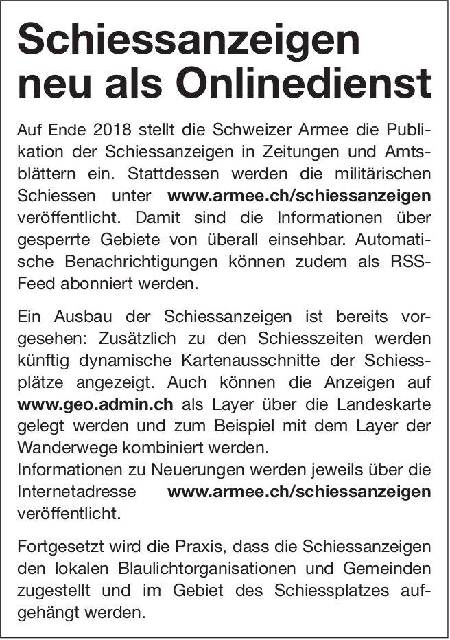 Schweizer Armee: Schiessanzeigen neu als Onlinedienst