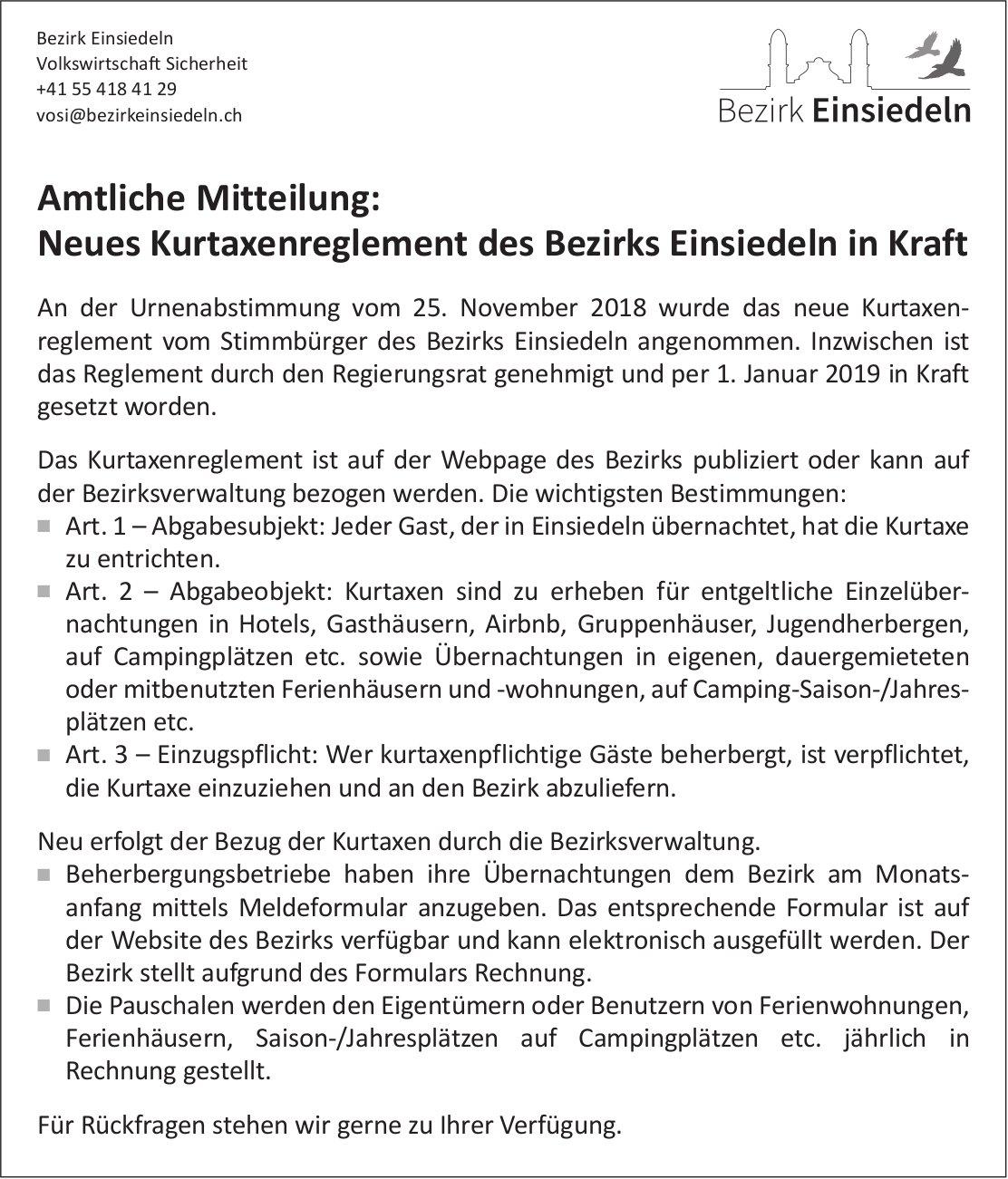 Bezirk Einsiedeln: Neues Kurtaxenreglement in Kraft