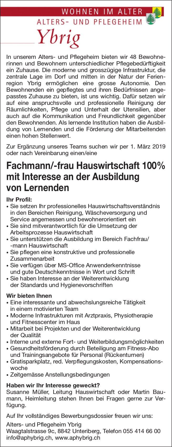 Fachmann/-frau Hauswirtschaft, 100%, Alters- und Pflegeheim Ybrig