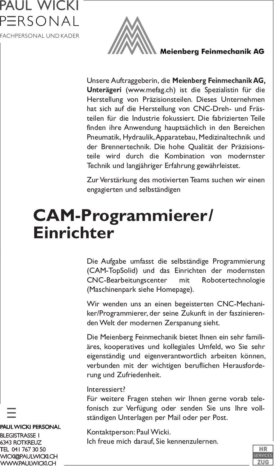 CAM-Programmierer / Einrichter, Meienberg Feinmechanik AG