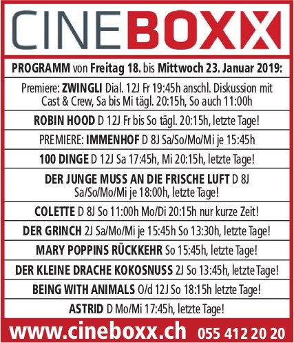 Cineboxx,  18. - 23. Jan.