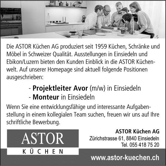 Projektleiter Avor (m/w) & Monteur, ASTOR Küchen AG