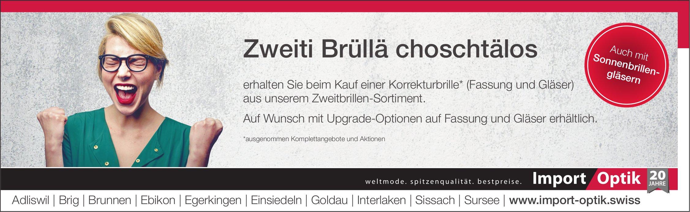 Zweiti Brüllä choschtälos, Import Optik