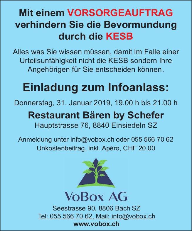 Infoanlass Vorsorgeauftrag, 31. Jan., Restaurant Bären by Schefer