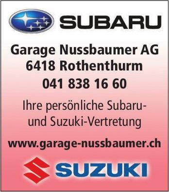 Ihre persönliche Subaru- und Suzuki-Vertretung, Garage Nussbaumer AG