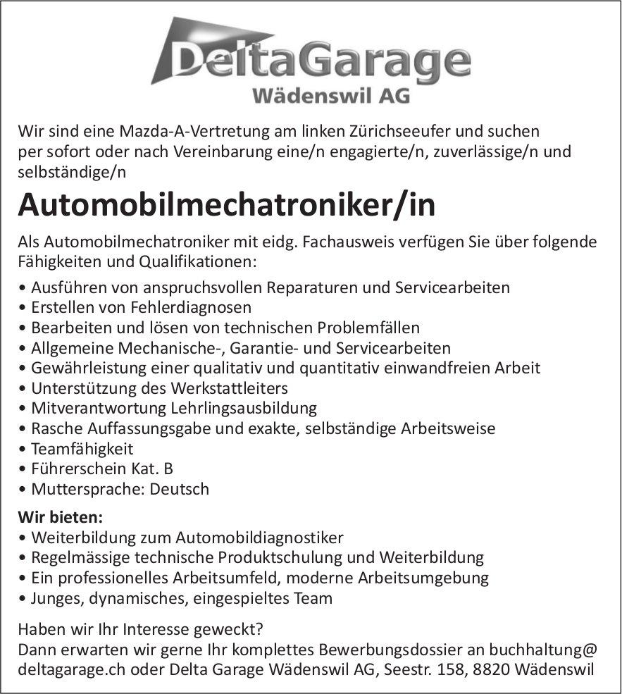Automobilmechatroniker/in, Delta Garage Wädenswil AG