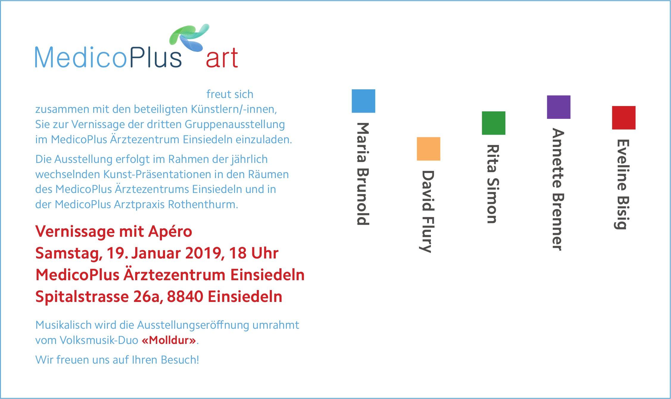 MedicoPlus art - Vernissage mit Apéro, 19. Jan.