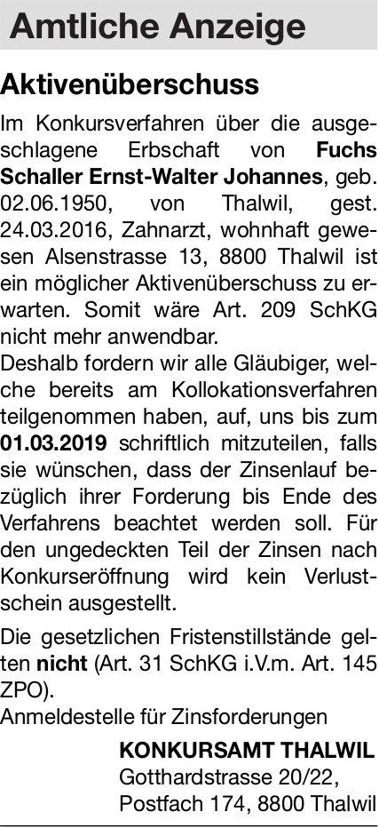 Konkursamt Thalwil: Aktivenüberschuss