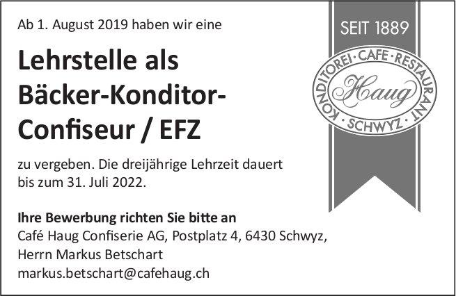 Lehrstelle Bäcker-Konditor-Confiseur / EFZ, Café Haug Confiserie AG