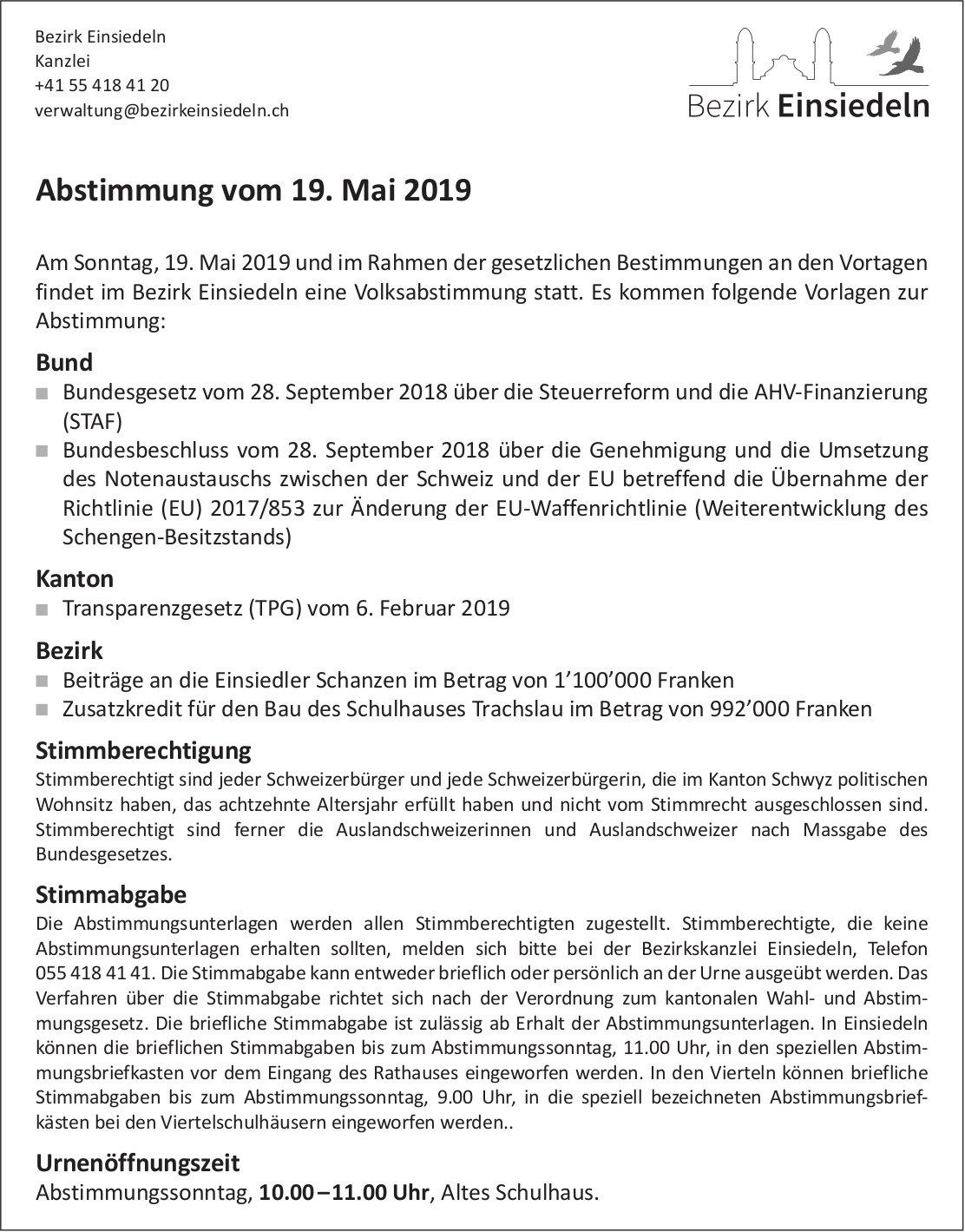 Bezirk Einsiedeln, Abstimmung vom 19. Mai
