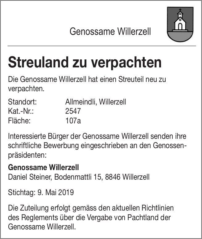 Genossame Willerzell: Streuland zu verpachten