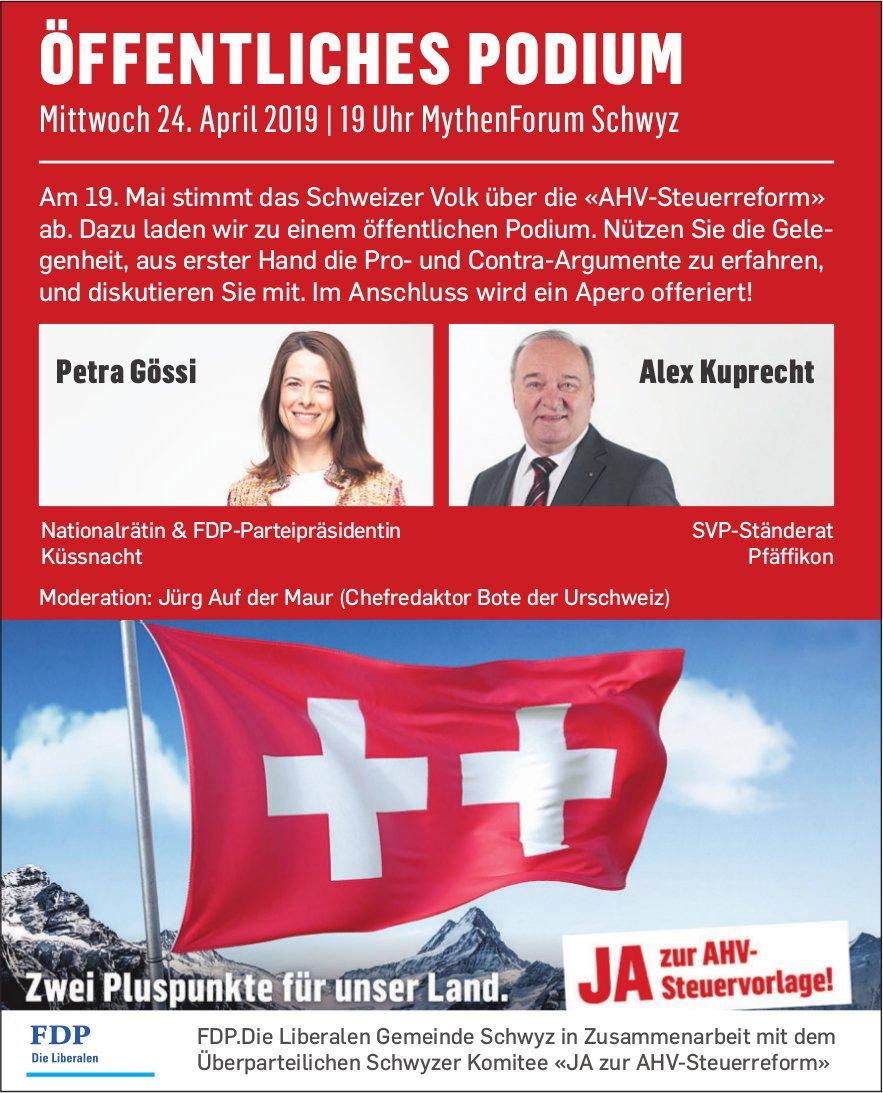 Öffentliches Podium zur AHV-Steuervorlage, 24. April, MythenForum Schwyz