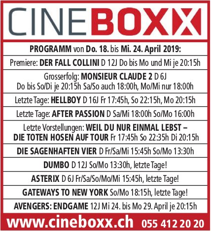 Ciné Boxx, Programm 18. bis 24. April