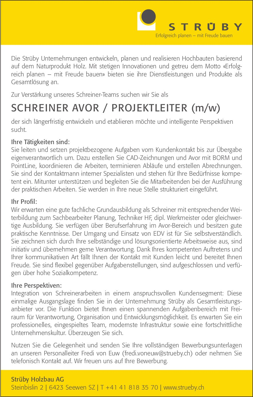 Schreiner Avor / Projektleiter (w/m), Strüby Holzbau AG, Seewen, gesucht