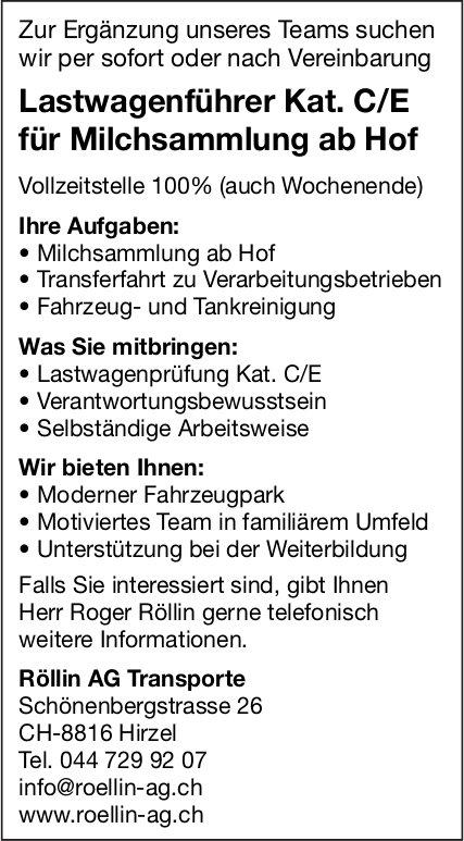 Lastwagenführer Kat. C/E für Milchsammlung ab Hof, Röllin AG Transporte, Hirzel, gesucht