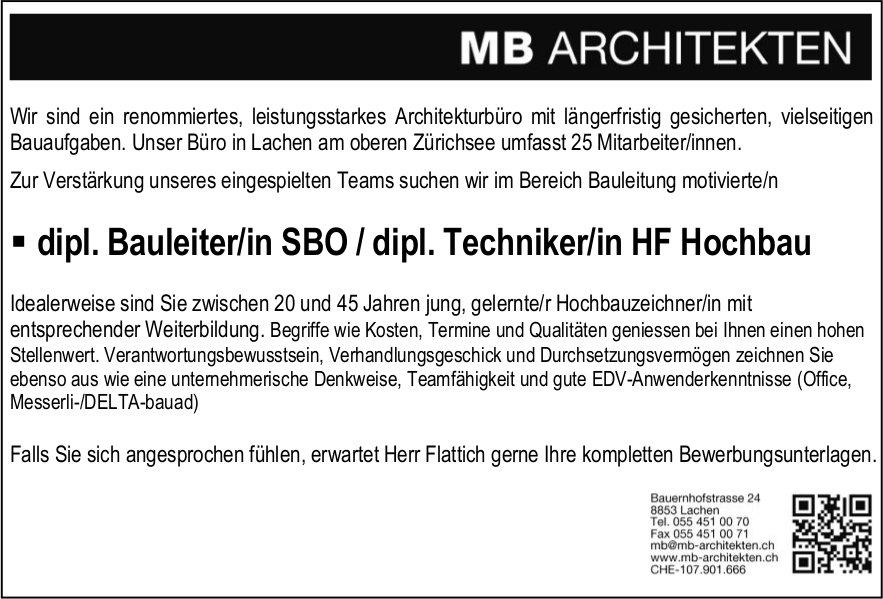 dipl. Bauleiter/in SBO / dipl. Techniker/in HF Hochbau, MB Architekten, Lachen gesucht