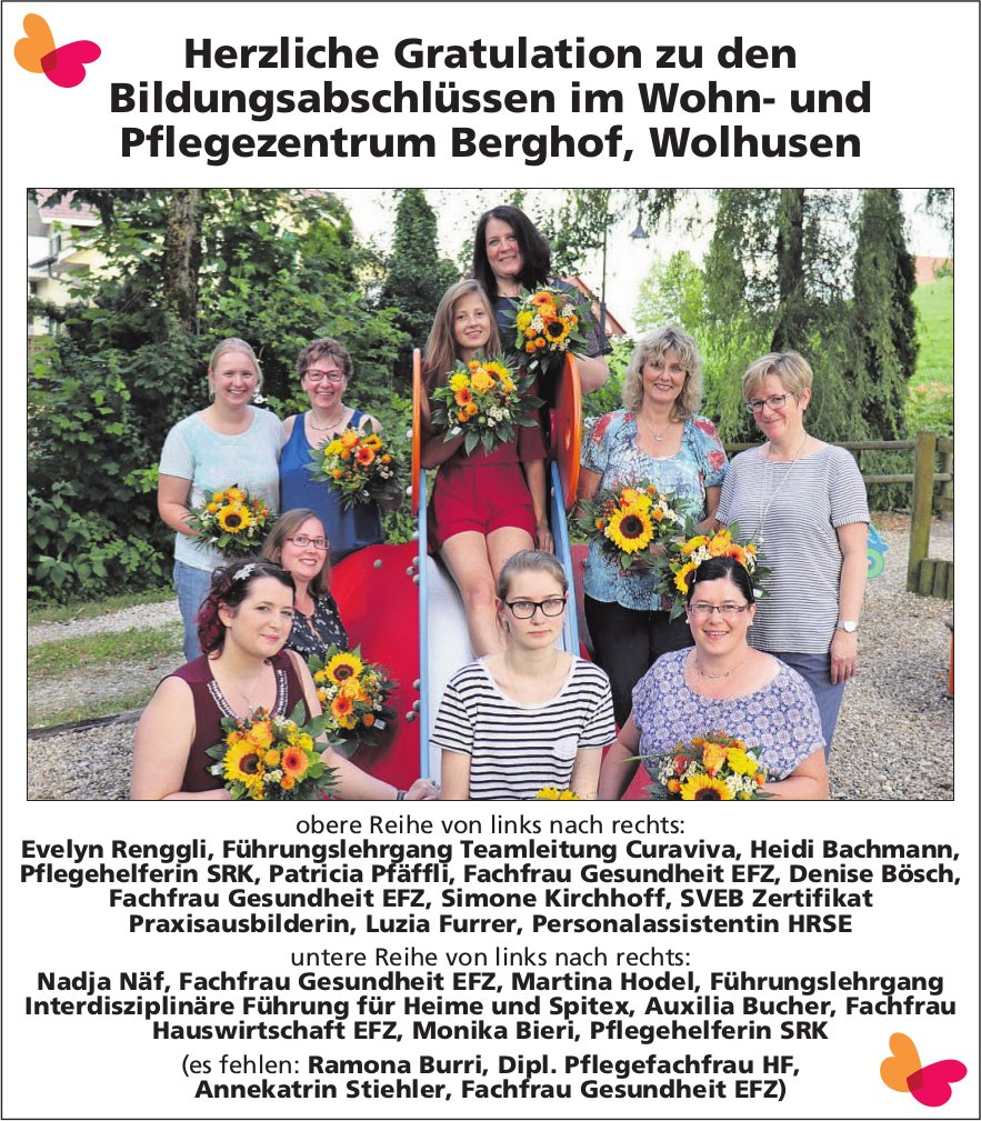 Herzliche Gratulation zu den Bildungsabschlüssen im Wohn- und Pflegezentrum Berghof, Wolhusen