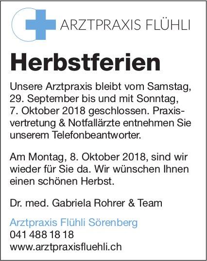 Arztpraxis Flühli Sörenberg - Herbstferien, 29. September - 7. Oktober