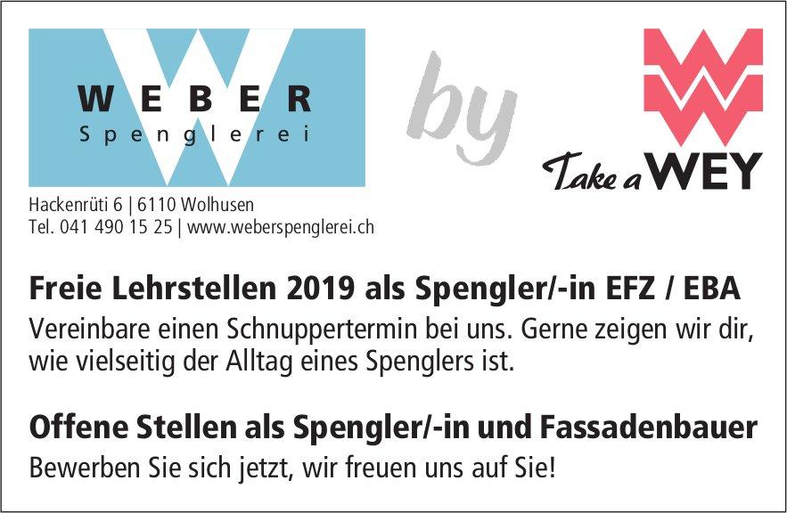 Freie Lehrstellen 2019 als Spengler/-in EFZ / EBA & Offene Stellen, Spenglerei WEBER, Wolhusen