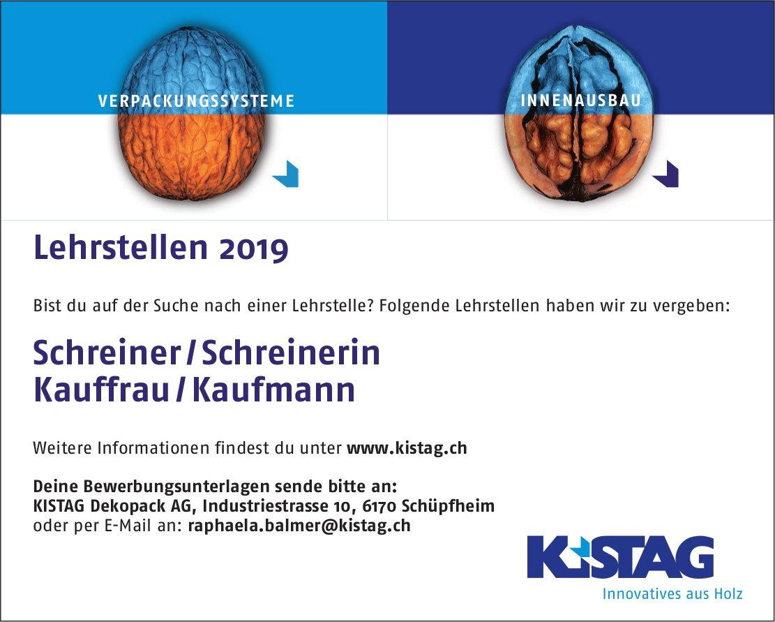 Lehrstellen 2019, Schreiner / Schreinerin & Kauffrau / Kaufmann, KISTAG Dekopack AG, zu vergeben