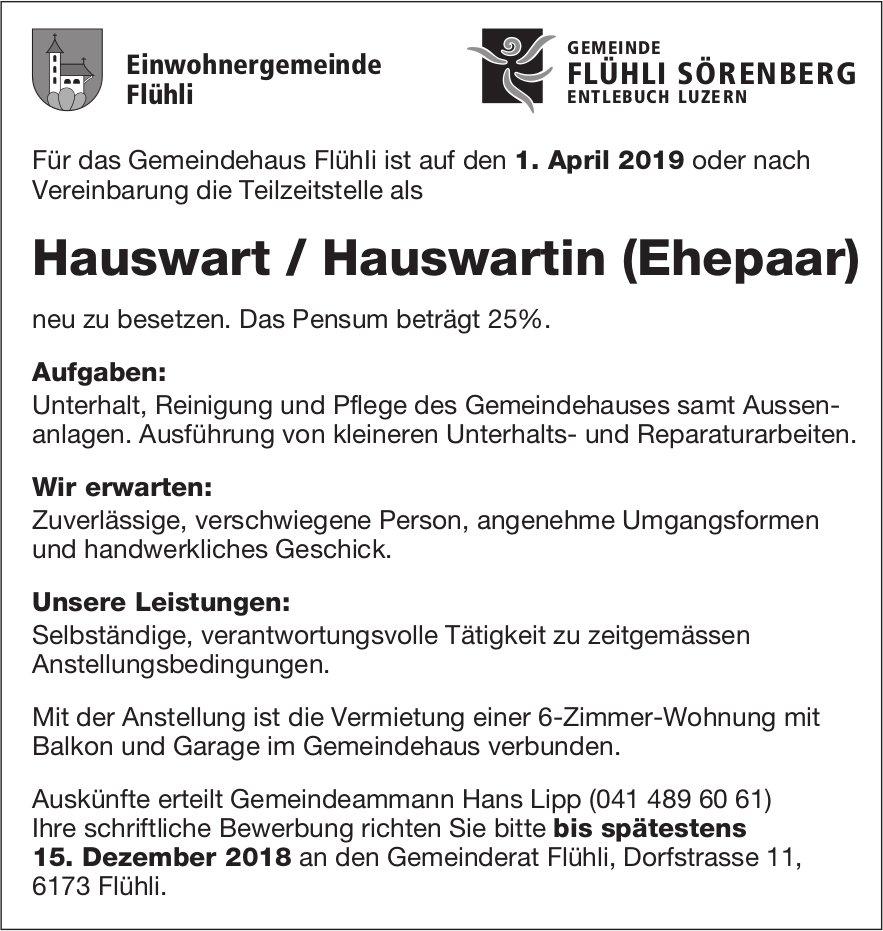 Hauswart / Hauswartin (Ehepaar), Gemeindehaus Flühli, gesucht