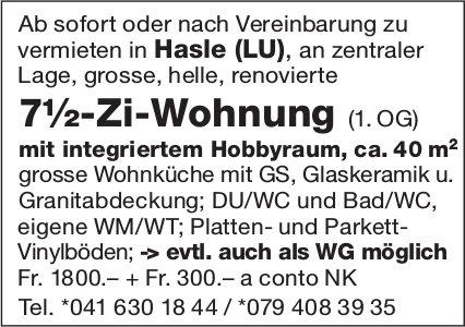 7.5-Zi-Wohnung (1. OG), Hasle, zu vermieten