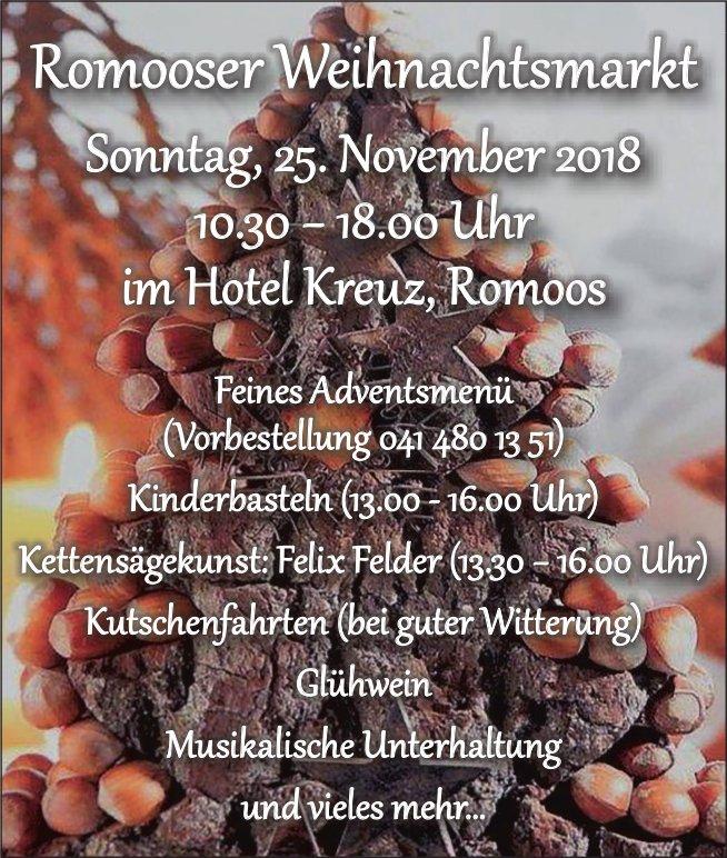 Romooser Weihnachtsmarkt, 25. November, im Hotel Kreuz, Romoos