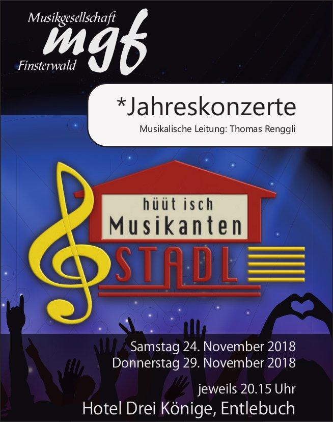 Jahreskonzert, MGF Finsterwald, 24. + 29. November, Hotel Drei Könige, Entlebuch