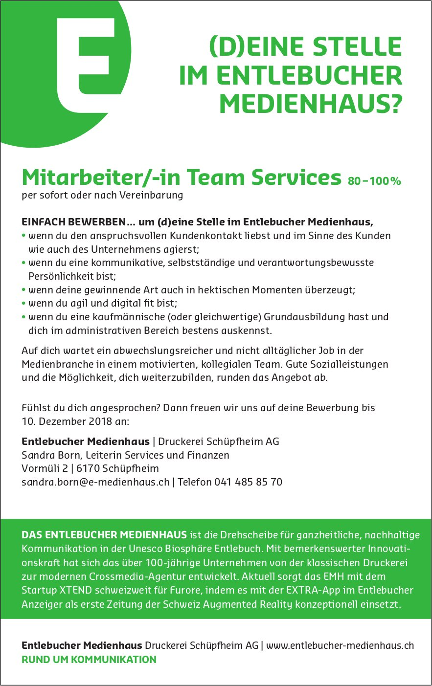 Mitarbeiter/-in Team Services 80−100%, Entlebucher Medienhaus, Schüpfheim, gesucht