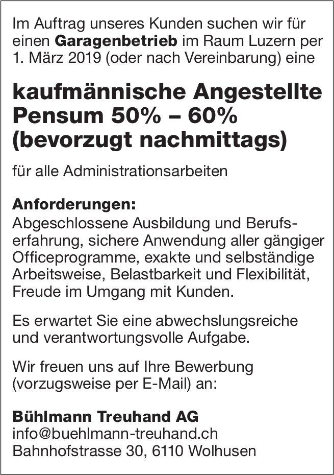 Kaufmännische Angestellte Pensum 50% – 60% (bevorzugt nachmittags), Bühlmann Treuhand AG, Wolhusen