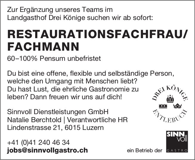 RESTAURATIONSFACHFRAU/ FACHMANN 60–100%, Sinnvoll Dienstleistungen GmbH, Luzern, gesucht