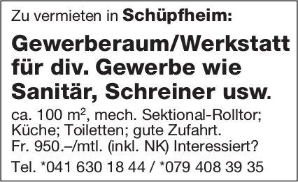 Gewerberaum/Werkstatt für div. Gewerbe wie Sanitär, Schreiner usw., Schüpfheim, zu vermieten