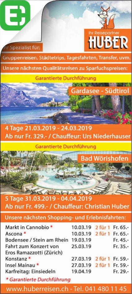 Reiseprogramm, Huber Reisen
