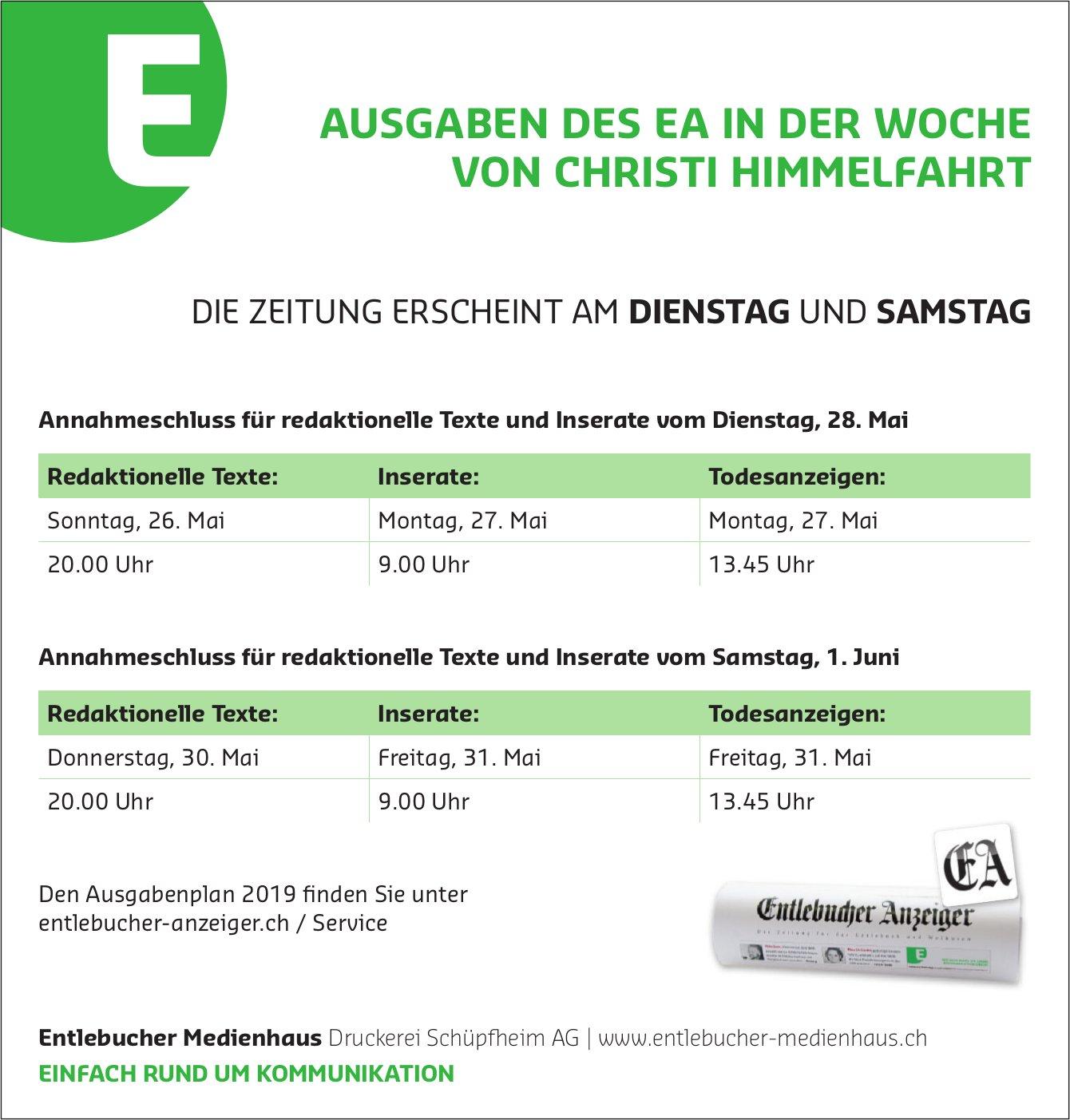 Entlebucher Medienhaus - AUSGABEN DES EA IN DER WOCHE VON CHRISTI HIMMELFAHRT
