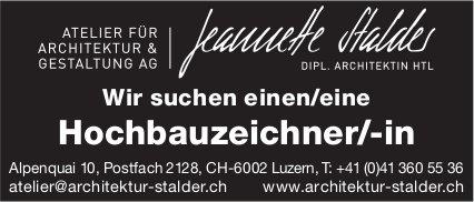 Hochbauzeichner/-in, Atelier für Architektur & Gestaltung AG, Luzern, gesucht