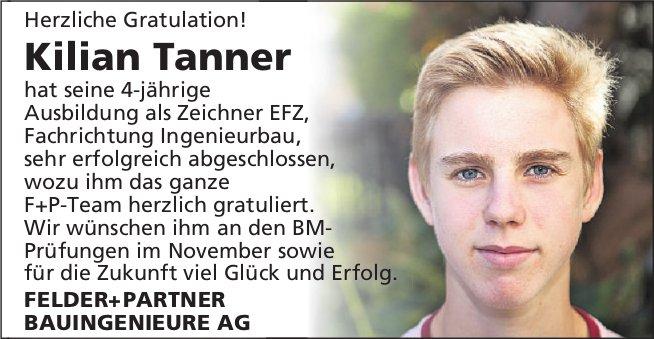 Herzliche Gratulation! Kilian Tanner hat seine 4-jährige Ausbildung sehr erfolgreich abgeschlossen