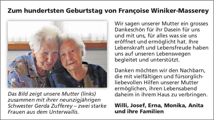 Zum hundertsten Geburtstag von Françoise Winiker-Masserey