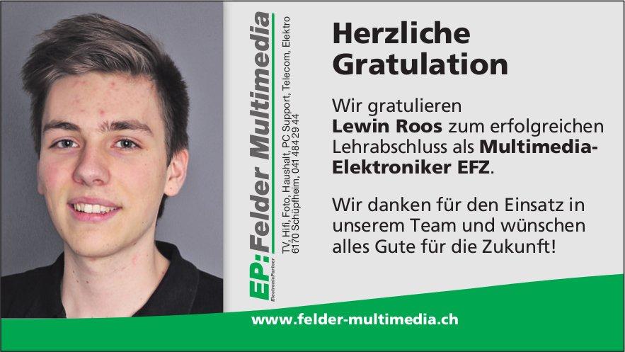 Herzliche Gratulation - Wir gratulieren Lewin Roos zum erfolgreichen Lehrabschluss...
