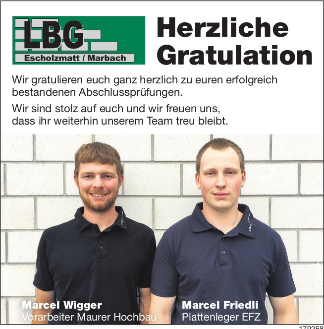 Herzliche Gratulation Marcel Wigger & Marcel Friedli zu euren erfolgreichen Abschlussprüfungen