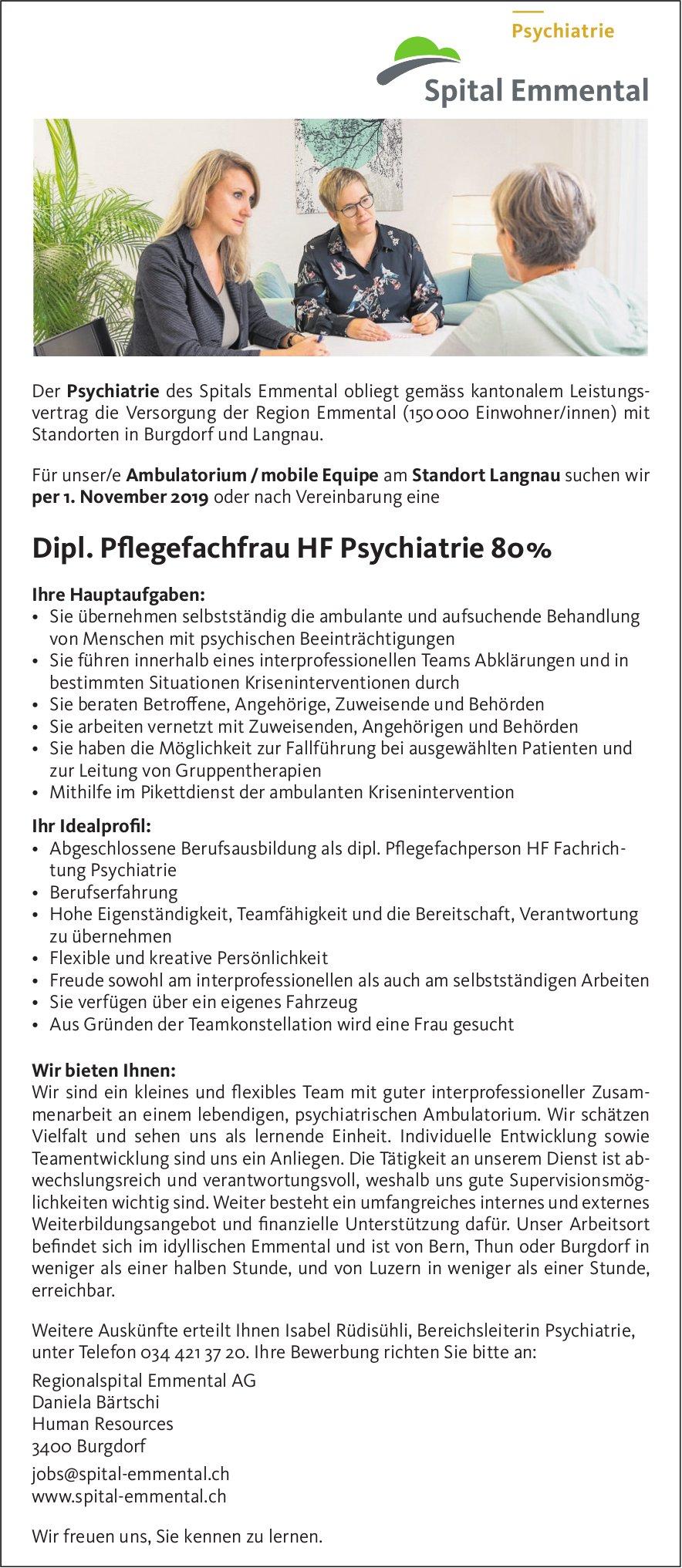 Dipl. Pflegefachfrau HF Psychiatrie 80%, Ambulatorium / mobile Equipe, Langnau, gesucht