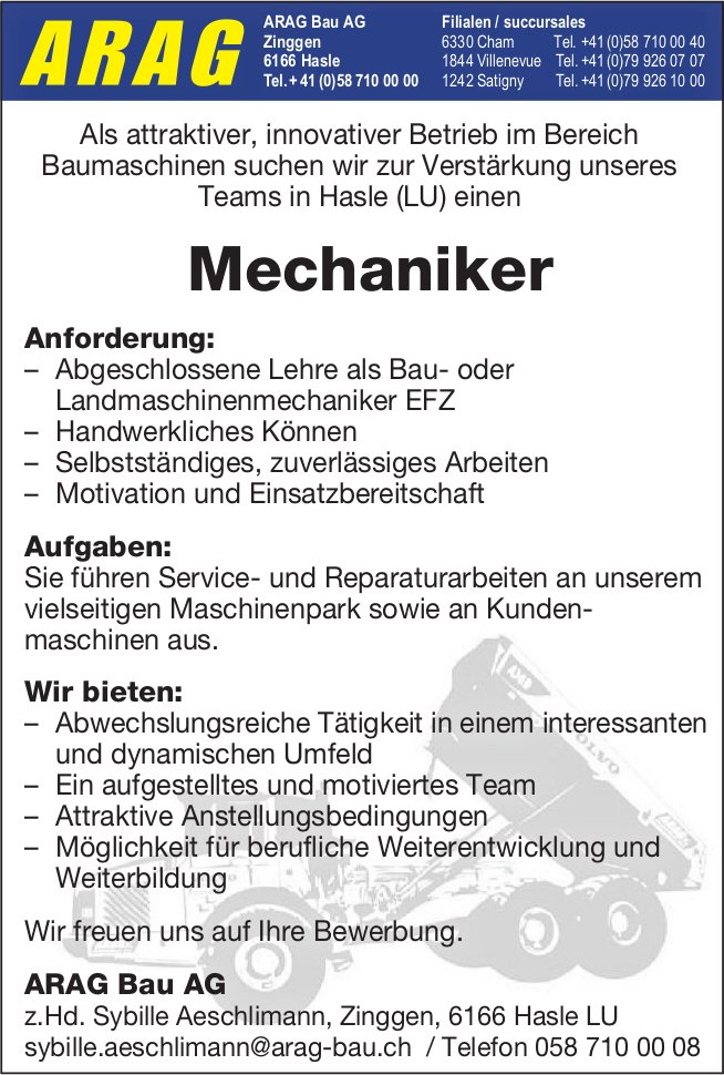 Mechaniker, ARAG Bau AG, Hasle LU, gesucht