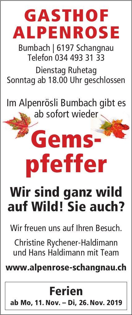 GASTHOF ALPENROSE, Schangnau - Ab sofort wieder Gemspfeffer