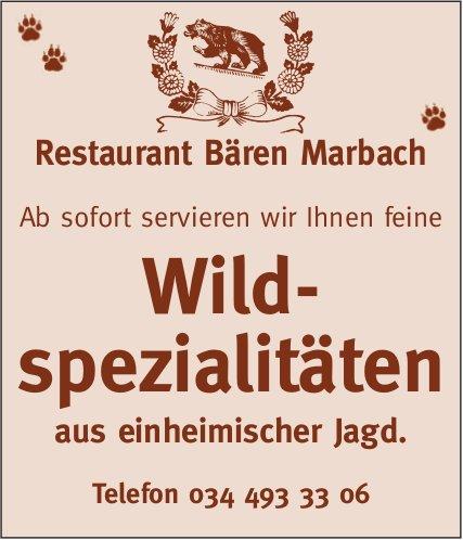Restaurant Bären Marbach - Wildspezialitäten aus einheimischer Jagd