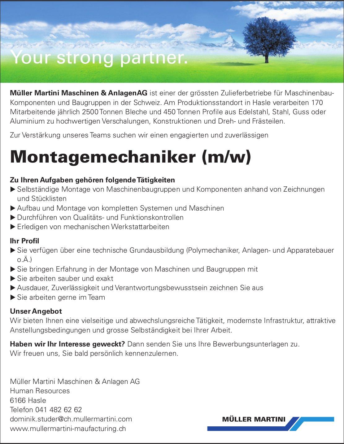 Montagemechaniker (m/w), Müller Martini Maschinen & Anlagen AG, Hasle, gesucht