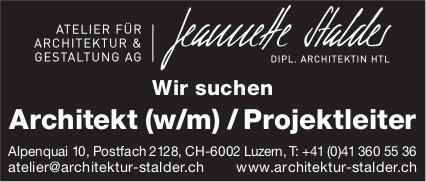 Architekt (w/m) / Projektleiter, Atelier für Architektur & Gestaltung AG, Luzern, gesucht