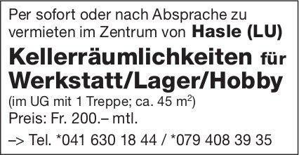 Kellerräumlichkeiten für Werkstatt/Lager/Hobby, Hasle LU, zu vermieten