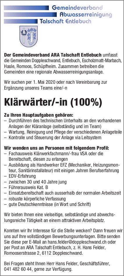 Klärwärter/-in (100%), Gemeindeverband ARA Talschaft Entlebuch,  Doppleschwand, Gesucht